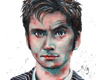 10th Doctor, Doctor Who, David Tennant: Fine Art Giclee Watercolour Print
