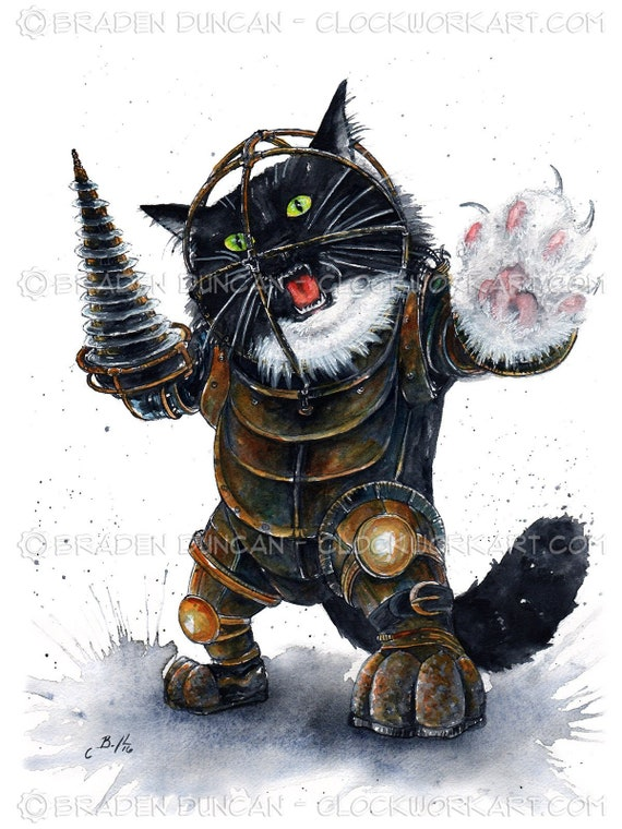 Sale Bioshock Cat Big Daddy Ned Limited Edition Giclee Cat Art Print