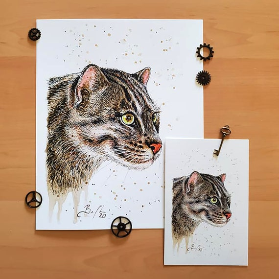ORIGINAL WATERCOLOUR Marbled Cat Art for Charity Wildcat Painting with Frame