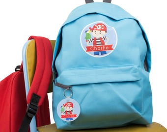 30094a0cff Personalised Pirate Child s Backpack School Bag - rucksack - back to school  - Keyring - Parrot