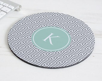 Grecian Key Print Mouse Mat – personalised mouse pad – round mousepad – desk decor - personalized graduation gift - coworker gift - p04