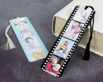 Personalised Photo Bookmark - Metal Book Mark Page - Photograph Film Reel P45