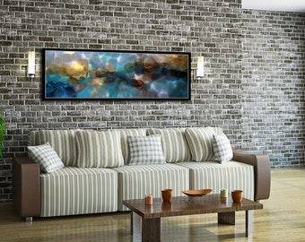 "Aqua water abstract canvas wall art print of painting Large 60"" x 20"", Contemporary art, modern art, giclee, Ocean, seascape"