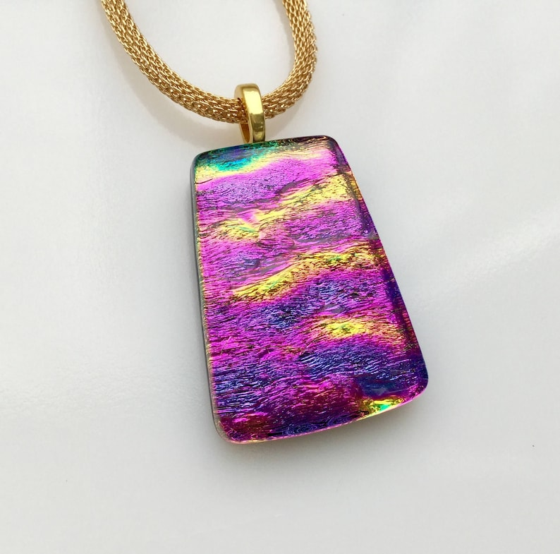 Dichroic Glass Pendant, Fused Glass Jewelry, Magenta Purple Gold Dichroic  Necklace
