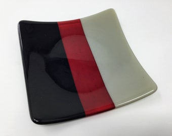 Fused Glass Plate, Gray Red Black Art Glass Plate, Sushi Dish