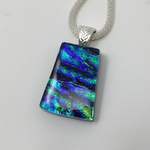 Chain Green Dichroic Glass Pendant Green Fused Glass Pendant P1108-11. Square Green Blue Dichroic Pendant Green Blue Gold Glass Jewelry