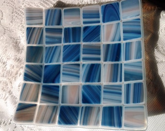 Fused Glass Dish, Blue and Ivory Patchwork Quilt Art Glass Plate