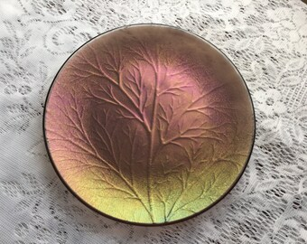Fused Glass Dish, Iridescent Leaf Textured Art Glass Dish, Iridescent Bronze Green Woodland Leaf Plate - 059