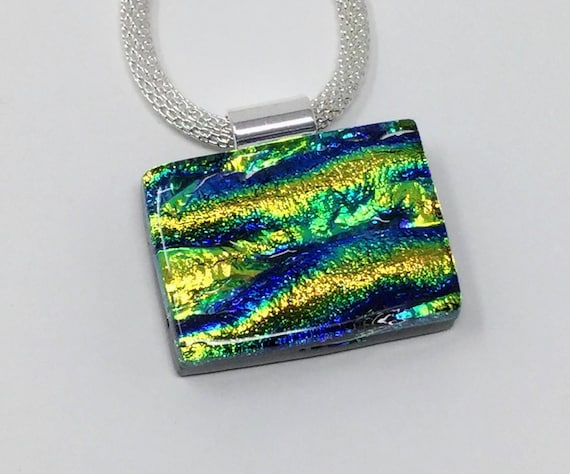 Thin Fused Glass Necklace Patterned Fused Dichroic Pendant Green Blue Fuchsia Pink Long Black and Gold Dichroic Glass Pendant