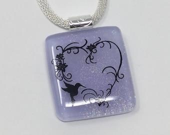 Dichroic Glass Hummingbird Pendant, Fused Glass Jewelry, Lavender Hummingbird Necklace