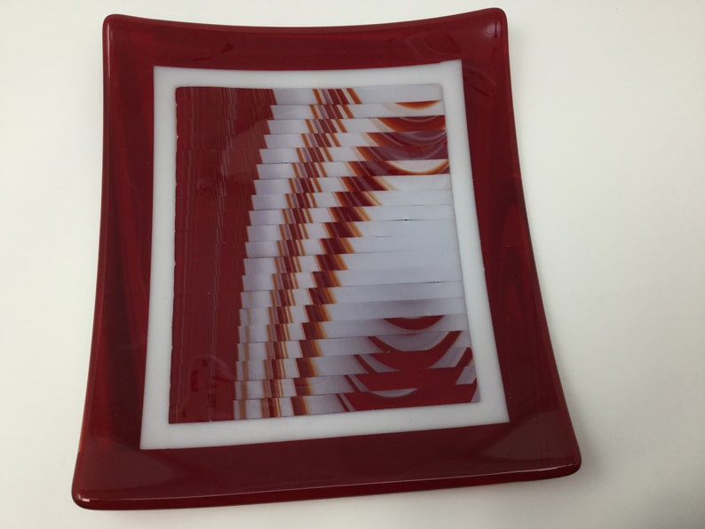 Red White Art Glass Tray Fused Glass Strip Cut Plate