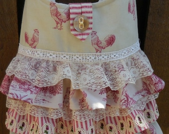 Ruffled  tote with Red Roosters, Stripes, Toile, , Lace, Crochet - Handbag, Shoulder bag