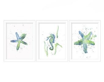 Watercolor Print Set of 3  - Watercolor Bathroom Prints - Watercolor Starfish - Watercolor Prints - Art Prints - Coastal Wall Art - Prints