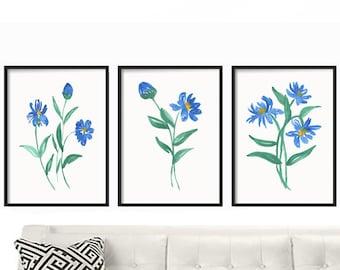 Watercolor Print Set - Watercolor Wall Art - Watercolor Print Nursery - Watercolor Wall Art - Watercolor Painting Florals - Blue Floral Art