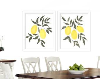 Watercolor Print set of 2 - Lemon Watercolor prints - Watercolor Kitchen Wall Art - Kitchen Prints - Wall Art Prints - Kitchen Art - Prints