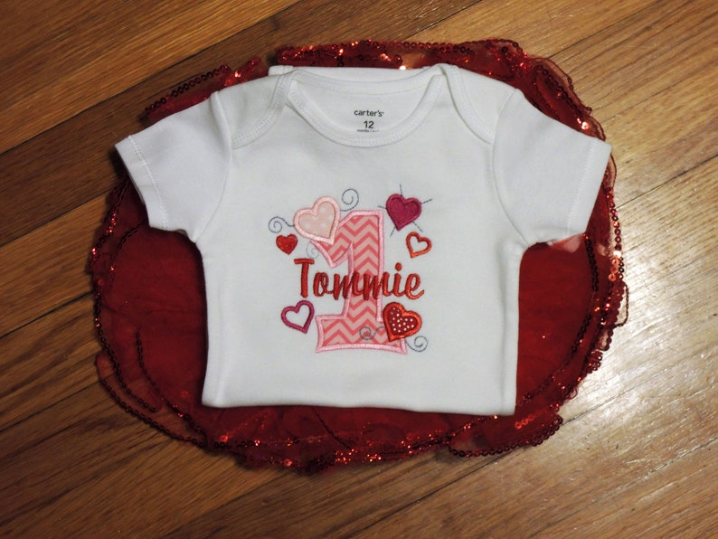 Love Heart Personalized Baby Girl/'s First Birthday Bodysuit Tutu Set 1st 2nd also available