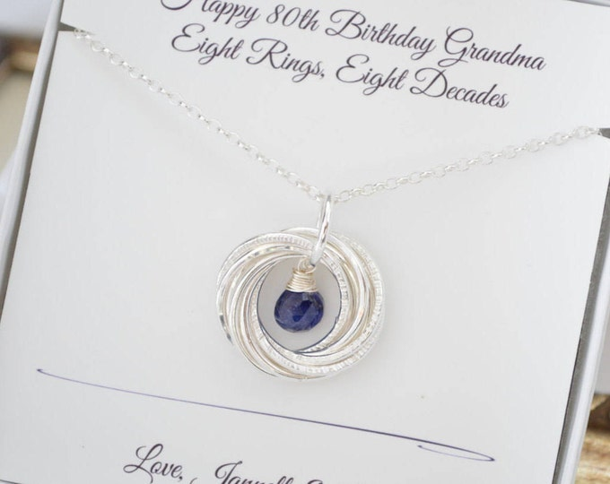 80th Birthday gift for mom and grandma, September birthstone necklace, Mom jewelry, 8 Interlocking rings necklace, Sapphire jewelry