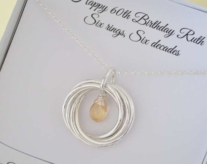 Citrine birthstone jewelry, 60th Birthday gift for mother necklace, 6th Anniversary gift for wife, Jewelry for mom, Mothers necklace