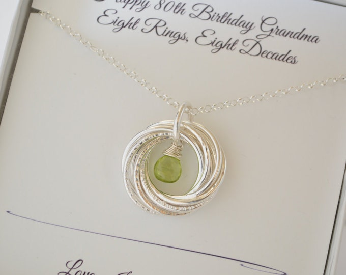80th Birthday gift for women, Peridot necklace, 8th Anniversary gift, 8 Rings for 8 decades necklace, 80th Birthday jewelry, Milestone gifts