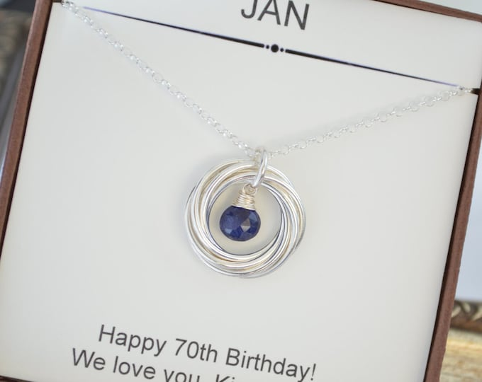70th Birthday gift for Grandma, September birthstone necklace,Sapphire necklace, 7th Anniversary gift for wife, Mom jewelry,Grandma necklace