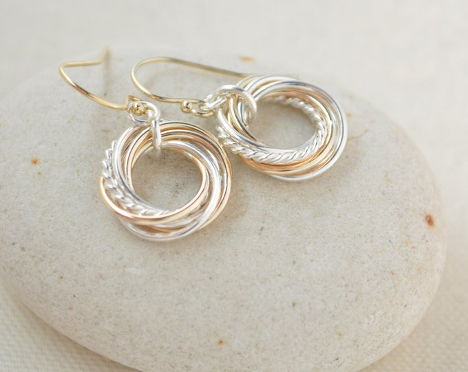 70th Birthday gift for mom, 7 Mixed metal interlocking rings, 70th Birthday gift for women, Small earrings, Mixed metal earrings,Anniversary