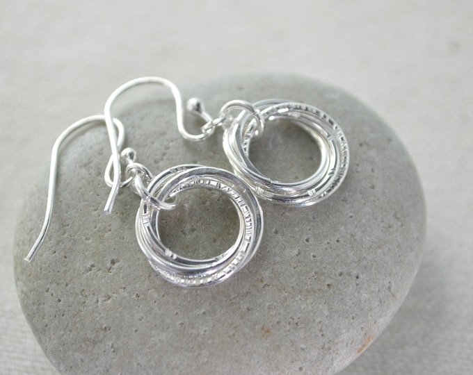 4 Rings earrings, 40th Birthday gift, Gift for daughter, 40th Birthday earrings
