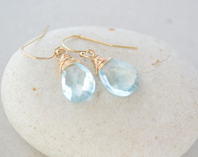 Blue topaz earrings, December birthstone earrings, Blue earrings, Gift for mom, Gift for her, December gifts, Birthday gifts