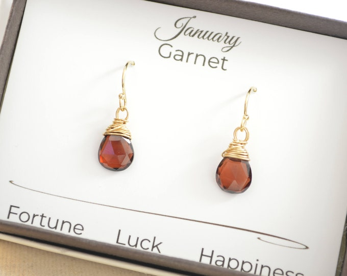 January birthstone earrings, Garnet gemstone earrings, Red gemstone earrings, January birthstone gift, 14 K Gold filled wire earrings