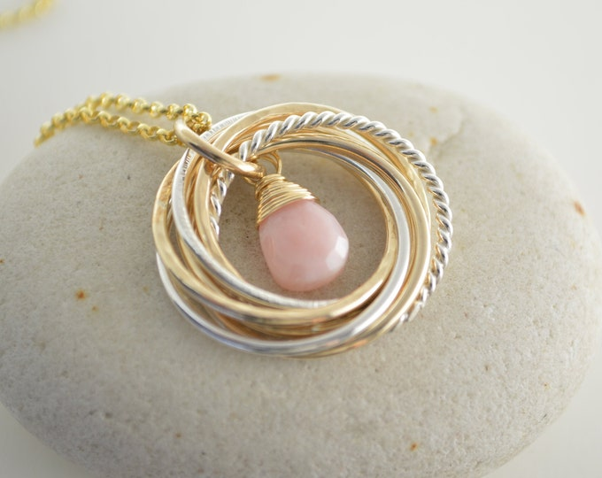 80th Birthday gift for mom, Mixed metal rings necklace, 8th Anniversary gift for women, Pink opal necklace, 80th Birthday jewelry for women