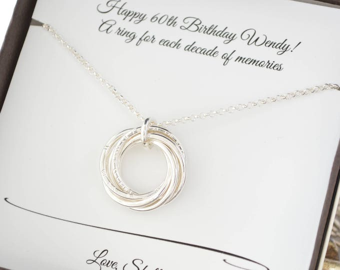 60th Birthday Gift For Mom 6th Anniversary Her 6 Interlocking Rings Necklace