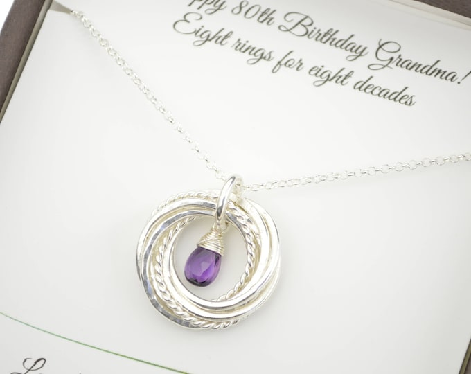 80th Birthday Gift For Grandma 8th Anniversary Women February Birthstone Necklace