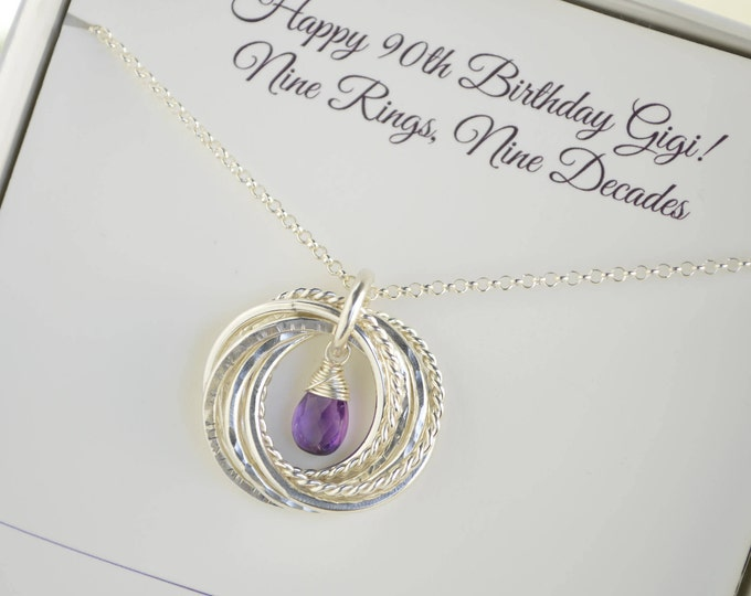 90th Birthday gift for grandma, February birthstone necklace, 9th Anniversary gift, Amethyst necklace, 90th Birthday for mom, 9 Rings Neck