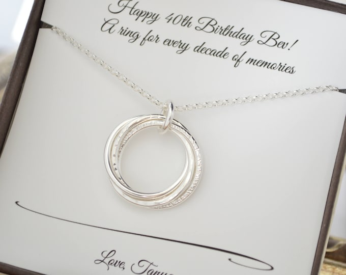 40th Birthday gift for women, 4 Rings necklace, 40th Birthday gift for her, 4 Sisters necklace, 4 Best friends gift, 4th Anniversary gift