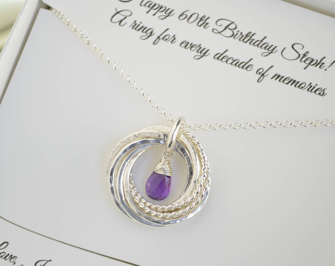 60th Birthday gift for mom, 6th Anniversary gift for wife, Amethyst birthstone necklace, 6 Rings necklace, February birthstone, Gemstone