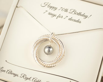 70th Birthday Gift For Mom 7th Anniversary Women 7 Interlocking Rings Necklace Pearl Grandma