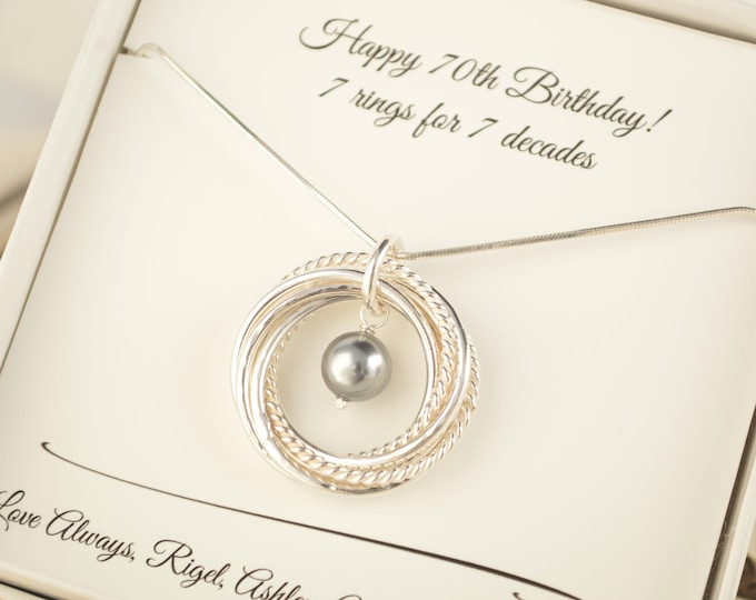 70th Birthday gift for mom, 7th Anniversary gift for her, 7 Rings for 7 decades necklace, Pearl necklace, 70th Birthday jewelry for women