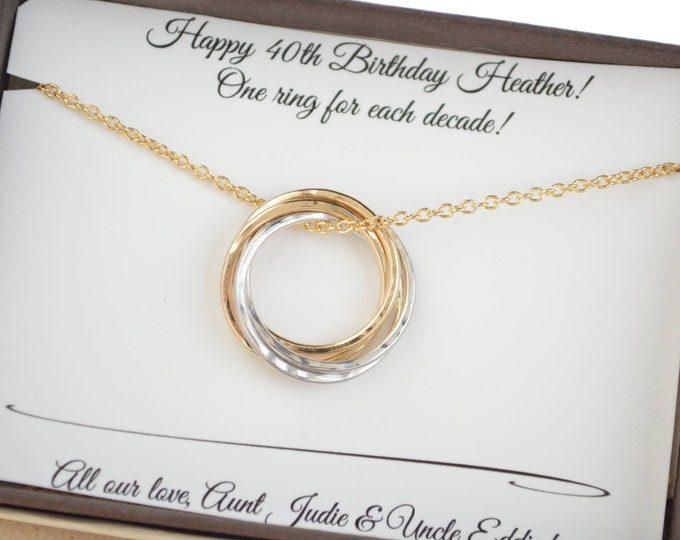40th Birthday gift for her, 4th Anniversary gift for wife, 4 Rings necklace, 4 Sisters necklace, 40th Birthday gift for wife, 4 Best friends