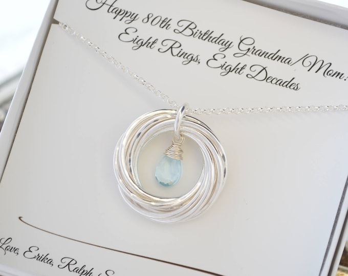 80th Birthday gift for grandma, Blue topaz necklace, 8 Rings for 8 decades necklace, 8th Anniversary gift, 80th Birthday jewelry for mom