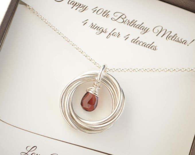 40th Birthday necklace, 40th Birthday jewelry, January Birthstone jewelry, 4th Anniversary gift, 4 Rings 4 Decades jewelry,