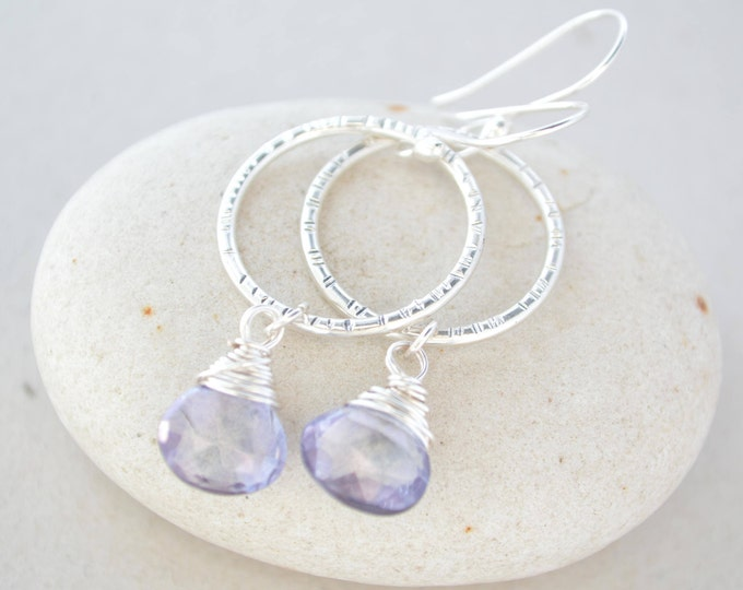December birthstone earrings, Tanzanite birthstone earrings, Silver earrings, Circle earrings, Gemstone earrings, Tanzanite birthstone