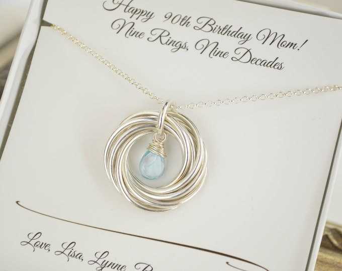 90th Birthday gift for mom and grandma, 90th Birthday gift for nana, 9 Rings necklace, 9th Anniversary gift for women, Jewelry for grandma