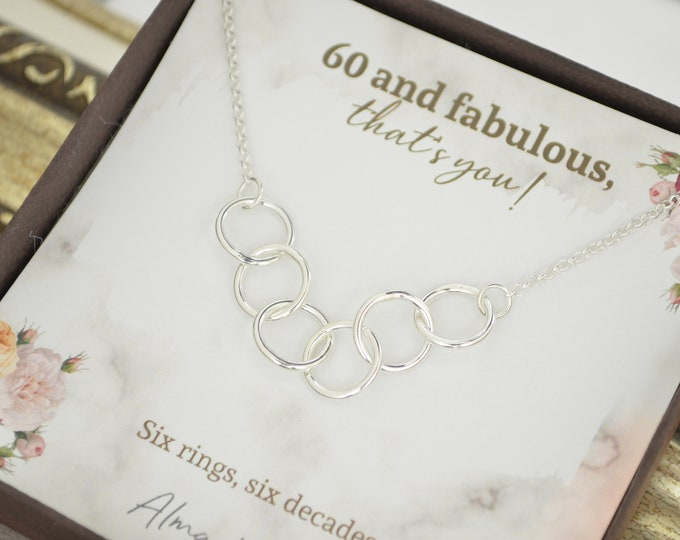 60th Birthday gift mom, 6 Rings 6 decades necklace, 60th Birthday gifts for women, 60th Birthday necklace, 60th Birthday jewelry for her