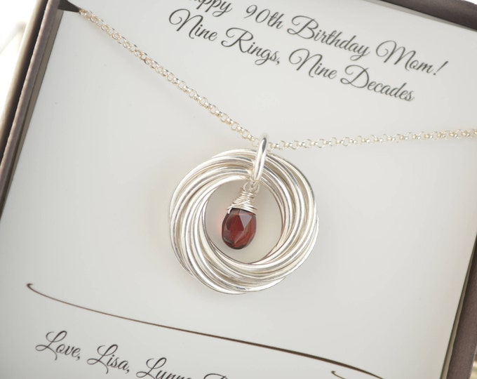 90th Birthday gift for mom and grandma, 9 Interlocking rings, 9th Anniversary gift for women, January birthstone necklace, Garnet birthstone