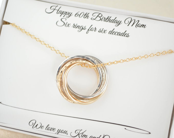 60th Birthday gift for mom, 6th Anniversary gif for her, 6 Rings necklace, 60th Birthday gift for women, Birthday gifts for mother