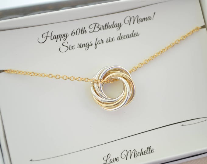 Petite necklace, Mixed metals necklace, 60th Birthday gift for mom, Gold rings necklace, 6th Anniversary gift, Small mixed metals necklace