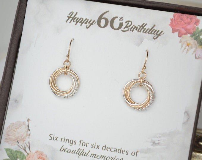 60th Birthday gif for women, 6th Anniversary gift, 60th Birthday gift for mom, 60th Birthday, Mixed metal earrings,6 Rings 6 decades jewlery