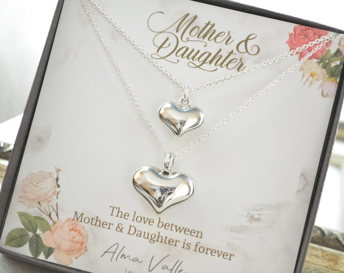 Mother and daughter necklace, Mother of the bride gift, Gift for mom, gift for daughter, Heart necklace, Daughter necklace, Christmas gift