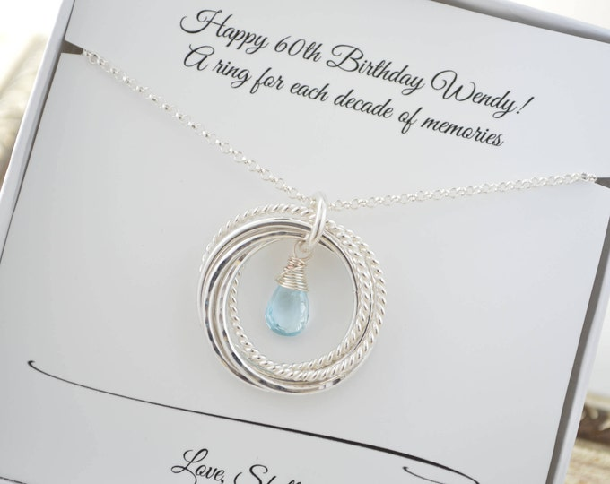 60th Birthday necklace for mom, December birthstone necklace, Blue topaz necklace, 6th Anniversary gift,60th Birthday gift for women,6 Rings
