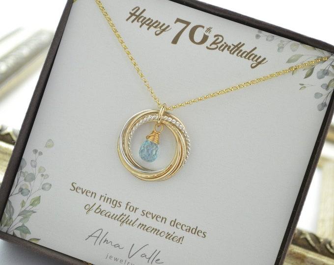 70th Birthday gift for mom, 70th Birthday gift for women, 70th Birthday jewelry, Blue topaz necklace, Birthstone jewelry, 7 Rings 7 decades