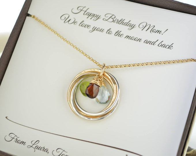 Birthday gift for mom, Birthstone necklace, Jewelry for mom and grandma, Gold rings necklace, Mother's day gift, Anniversary gift for women
